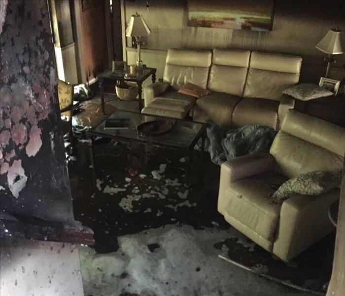 Pinellas Park Fire Damage to a Living Room